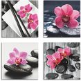 artland artprint op linnen aziatische compositie orchidee zen (4 stuks) roze