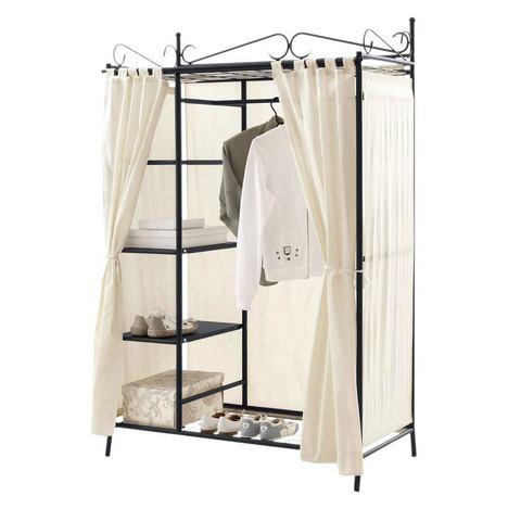 Garderobekast Air zwart metalen frame, textielen bekleding in crème multifunctionele kast