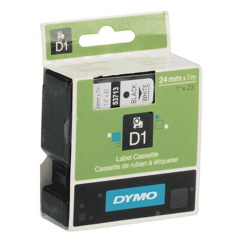 Dymo D1 Naamlabels Zwart-Wit (24mm x 7 m)