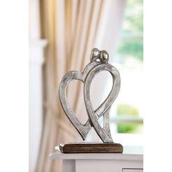 gilde decoratief figuur sculptuur figura van harte decoratief object, hoogte 31 cm, hart model, van metaal, voet van hout, woonkamer (1 stuk) bruin