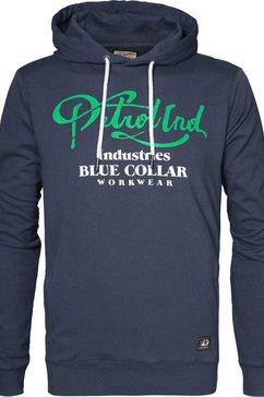 petrol industries hoodie met merkfrontprint blauw