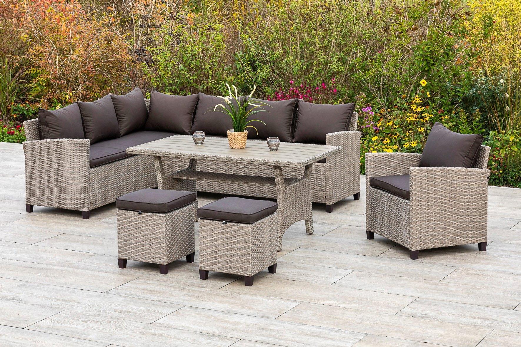 MERXX Tuinmeubelset Palma Hoekbank, fauteuil, 2 hockers, tafel, met kussen (5-delig) - verschillende betaalmethodes