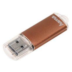 hama usb-stick 32 gb, usb 2.0, 10mb-s, geheugenstick bruin »flashpen met dop« bruin