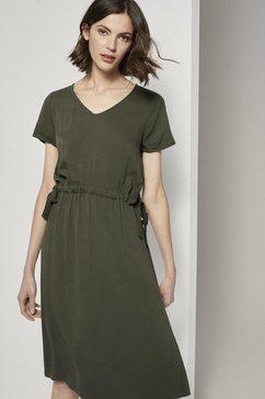 tom tailor zomerjurk »strukturiertes kleid mit tunnelzug« groen