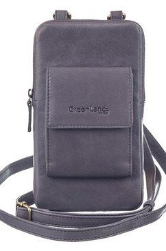 greenland nature mini-bag nature soft met opgestikte portemonnee voor pasjes en rfid-bescherming grijs