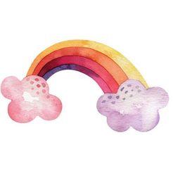 wall-art wandfolie veelkleurige regenboog wolken (1 stuk) multicolor