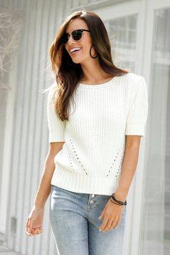 lascana trui met korte mouwen wit