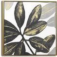 reinders! artprint op linnen leinwandbild blaetter aus gold blumen - glamouroes - pflanzen (1 stuk) goud