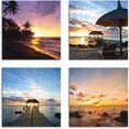 artland artprint op linnen zonsondergang aan het strand (4 stuks) bruin