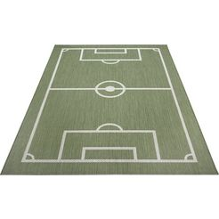 luettenhuett vloerkleed voor de kinderkamer voetbalveld voetbal, speelkleed, geschikt voor binnen en buiten beige