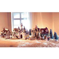 home affaire kerstdorp met kerstverlichting (17 stuks) multicolor