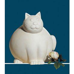 gilde decoratief figuur kat molli, crèmewit decoratief object, dierfiguur, hoogte 30 cm, van keramiek, woonkamer (1 stuk) beige