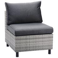 best loungestoel bonaire polyrotan, incl. kussens, grijs (1 stuk) grijs