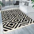 paco home vloerkleed poco 821 ruiten design, met franje, geschikt voor binnen en buiten, woonkamer zwart
