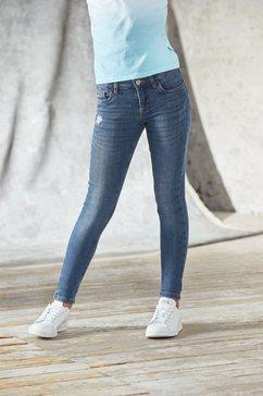 bench. stretch jeans met stijlvolle used effecten in super-skinny blauw