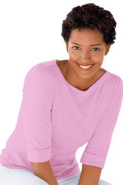 classic basics shirt met 3-4-mouwen roze