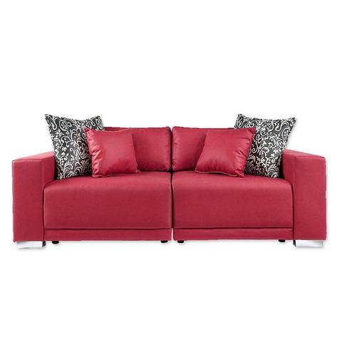 woonkamer extra groot bankstel rood Megabank L Primabelle Softlux of structuurstof 102