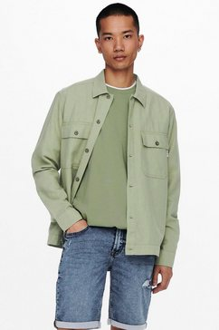 only  sons shirt met lange mouwen kennet life ls linen overshirt groen