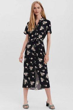 vero moda midi-jurk vmsimply easy ss long shirt dress zwart