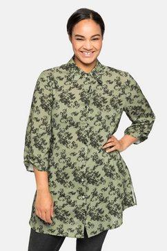 sheego lange blouse met print all-over en 3-4-mouwen groen