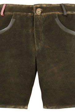 andreas gabalier kollektion leren folklorebroek dames in cleane look met geruite riemlus (1-delig) bruin