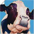 artland artprint koe alia in vele afmetingen  productsoorten -artprint op linnen, poster, muursticker - wandfolie ook geschikt voor de badkamer (1 stuk) blauw