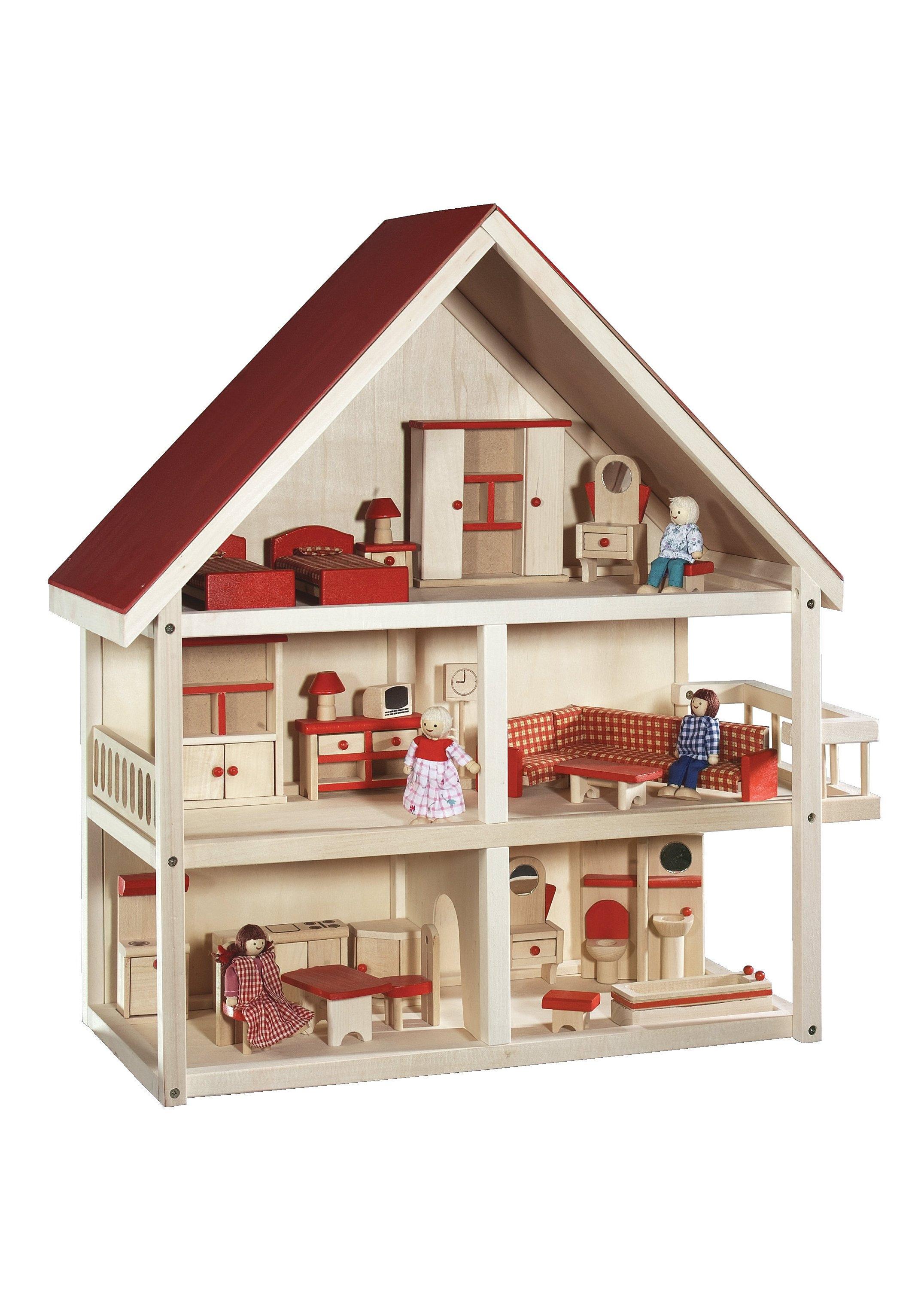 Roba Poppenhuis met 3 etages incl. meubelen en poppen, 'Villa Multicolour' bij OTTO online kopen