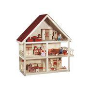 roba poppenhuis villa bont met 3 etages, inclusief meubels en poppen beige