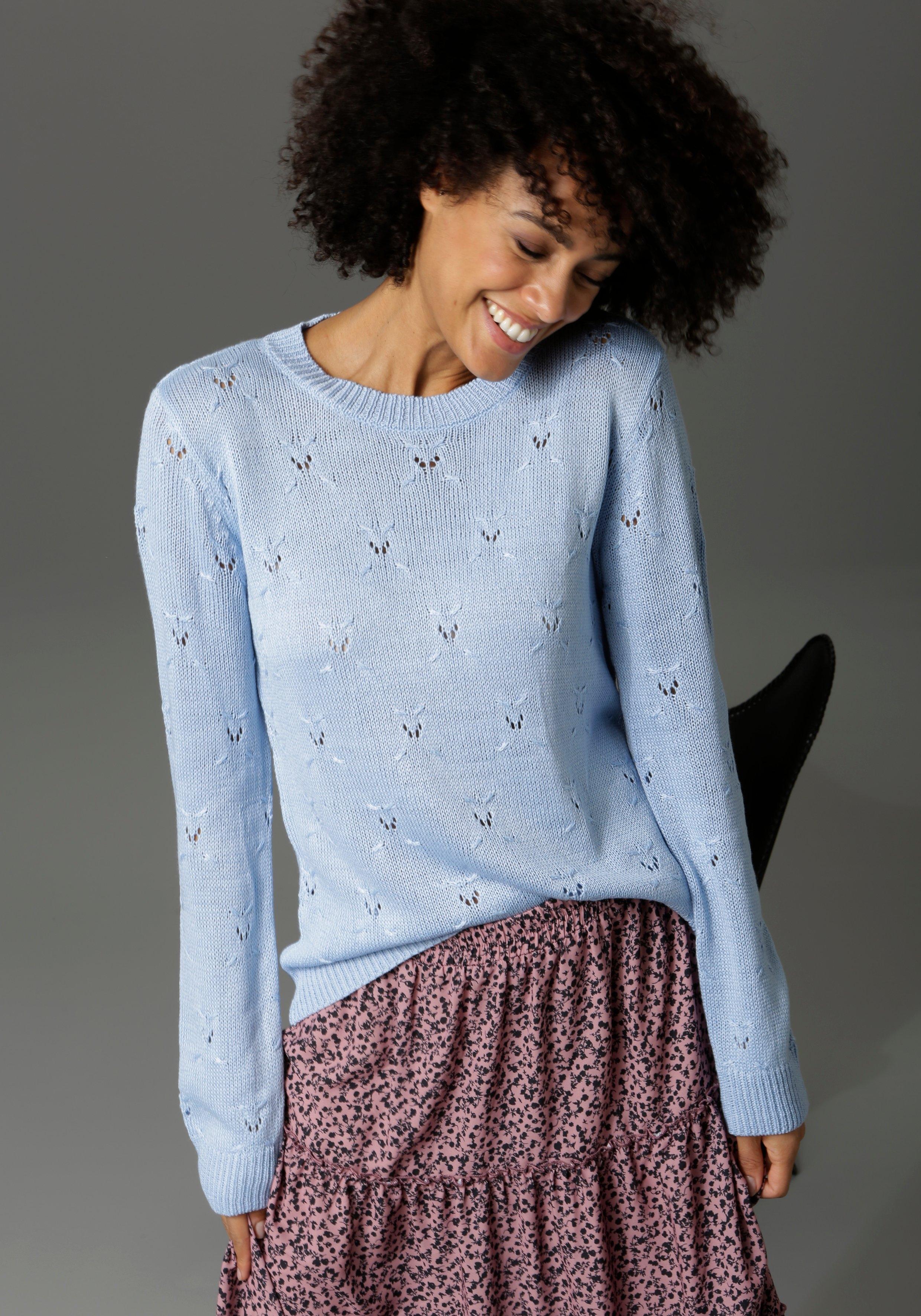 Aniston CASUAL trui met ronde hals met ajourmotief goedkoop op otto.nl kopen