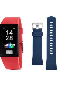 calypso watches smartwatch smartime, k8500-4 met blauwe wisselband (set, 2-delig, met blauwe wisselband) rood