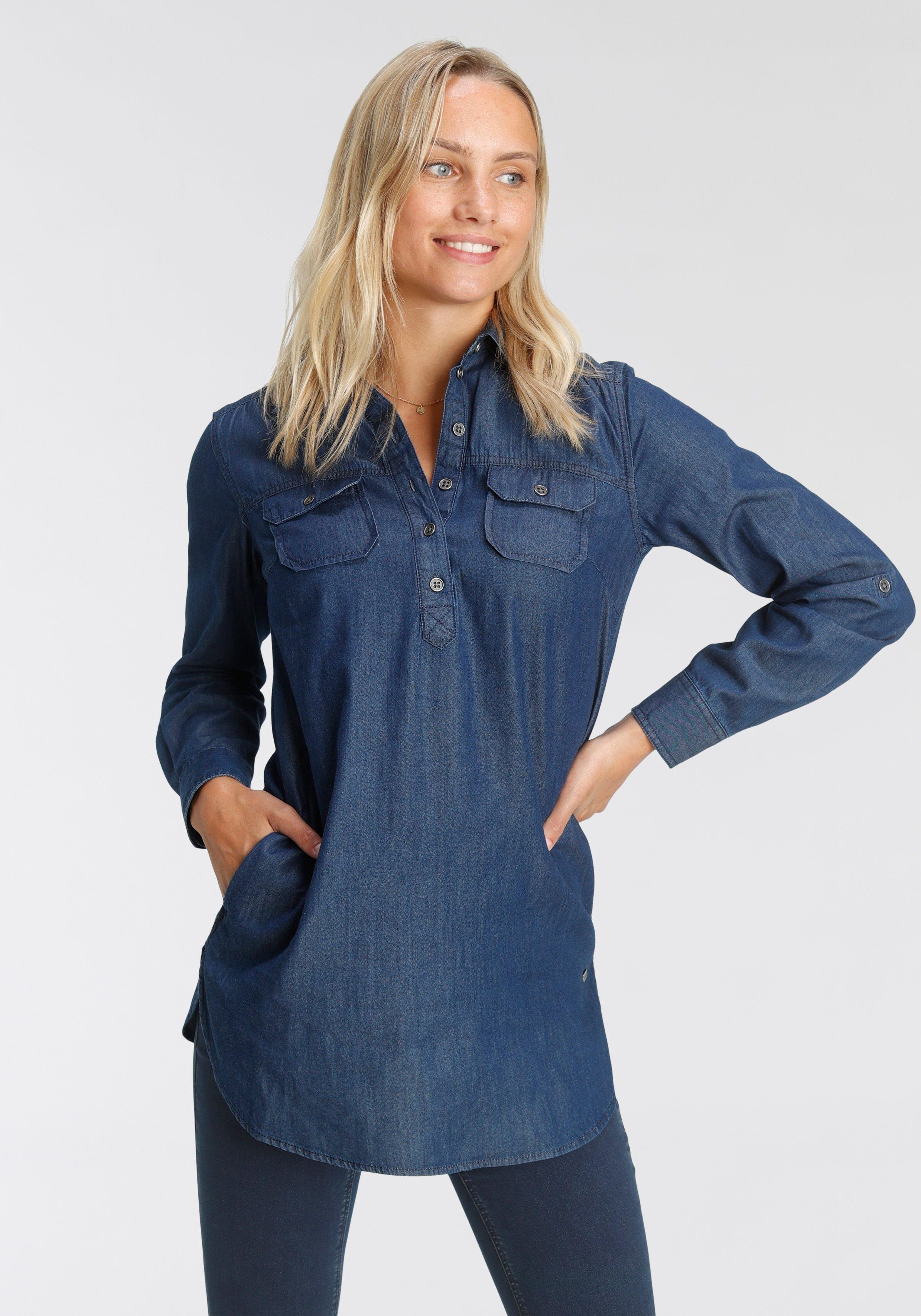 Arizona Jeansblouse Omslagmouwen met trensje in tuniekstijl nu online kopen bij OTTO