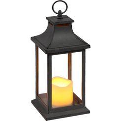 home affaire lantaarn incl. ledkaars, antiek-grijs grijs