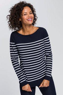 tommy hilfiger gestreepte trui heritage boat neck sweater klassiek streepdessin blauw