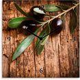 artland wandklok olijven voor een houten achtergrond bruin