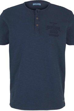 tom tailor henleyshirt met geborduurd logo blauw