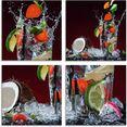artland print op glas verse fruitcocktail ii (4 stuks) multicolor