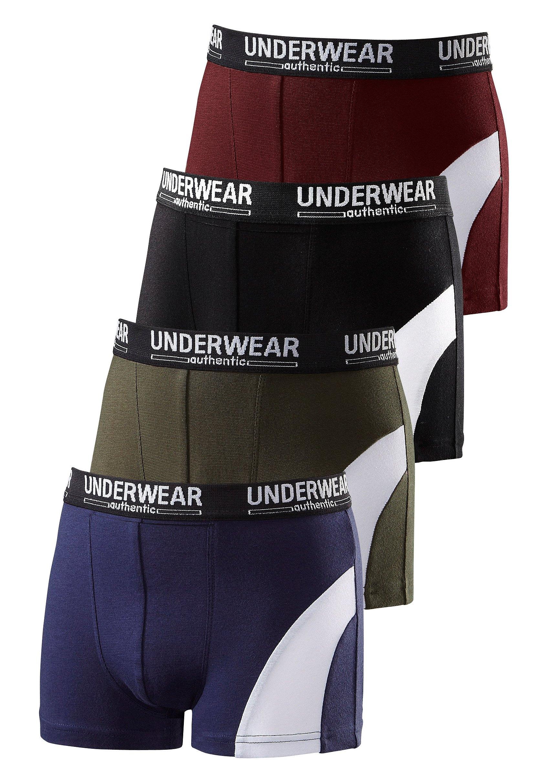 AUTHENTIC UNDERWEAR boxershort coole look door witte inzet (4 stuks) bestellen: 30 dagen bedenktijd
