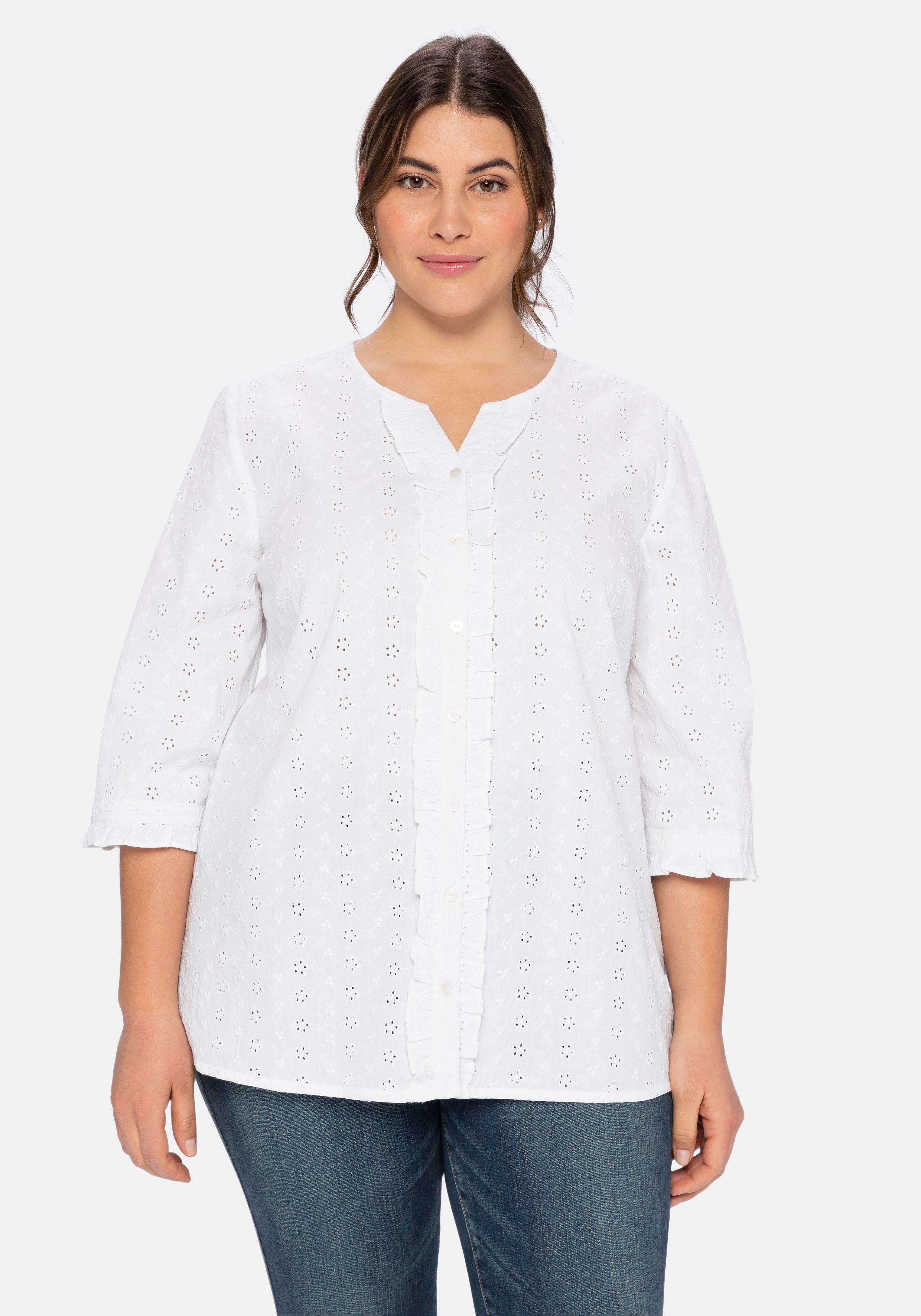 Sheego blouse met lange mouwen met perforatiemotief en ruchebeleg nu online bestellen