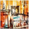 artland print op glas new york new york city - skyline collage 16 (1 stuk) geel