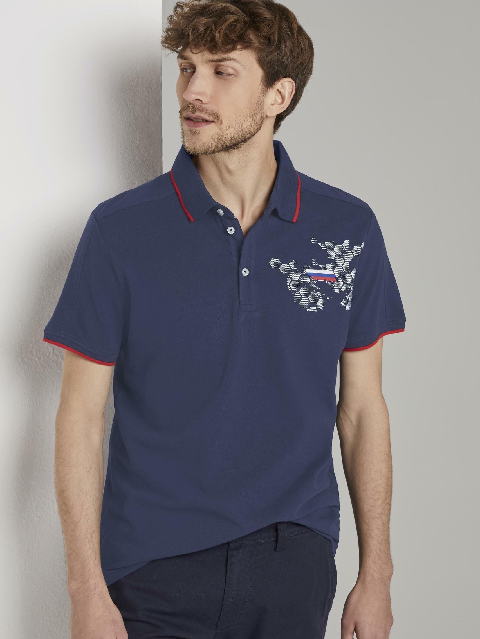 Tom Tailor poloshirt »Sportliches Poloshirt mit Fußball-EM-Print« nu online kopen bij OTTO