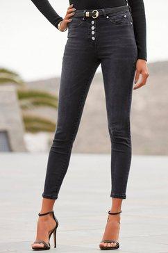 buffalo high-waist jeans met modieuze knoopsluiting zwart