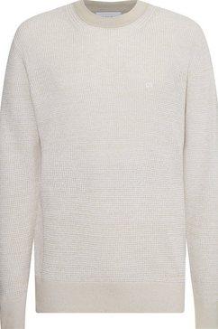 calvin klein trui met ronde hals »cotton silk texture sweater« beige