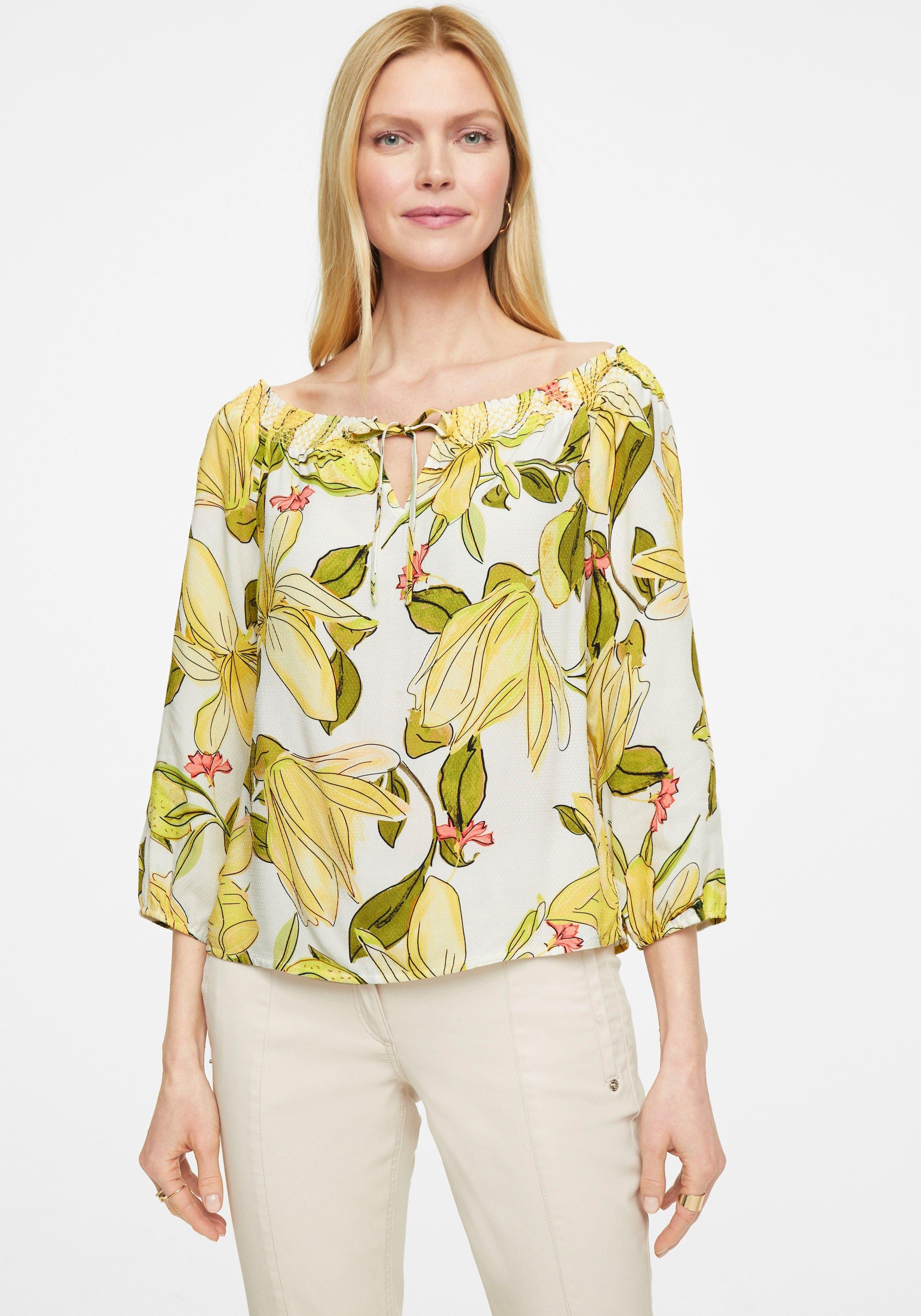 Comma blouse met carmenhals met gesmokte hals en strikbandjes bij OTTO online kopen