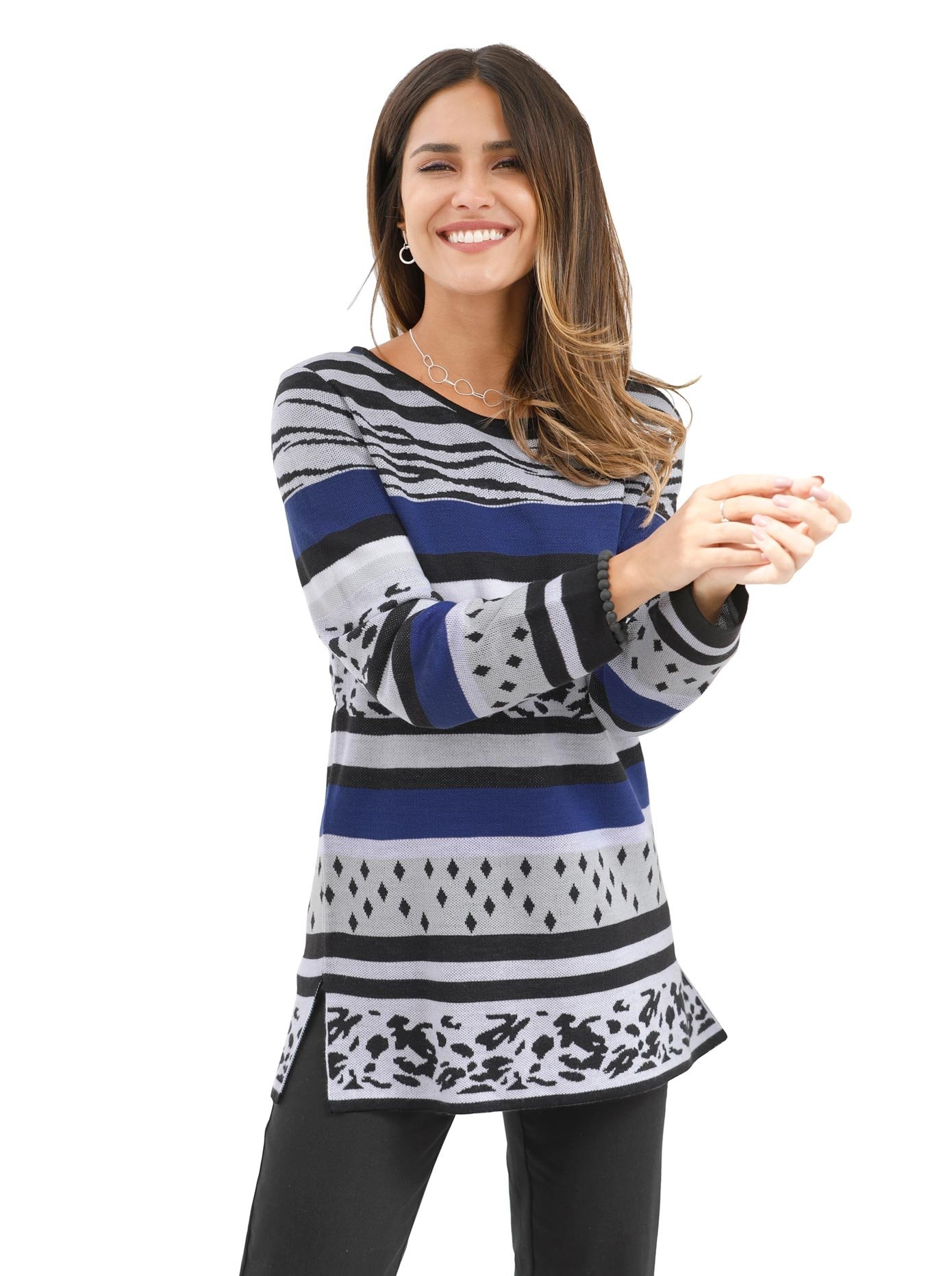 Classic Basics Jacquardtrui Lange trui in de webshop van OTTO kopen