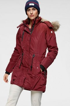 alpenblitz parka wintercharme met behaaglijk gevoerde capuchon en afneembaar imitatiebont aan de rand rood