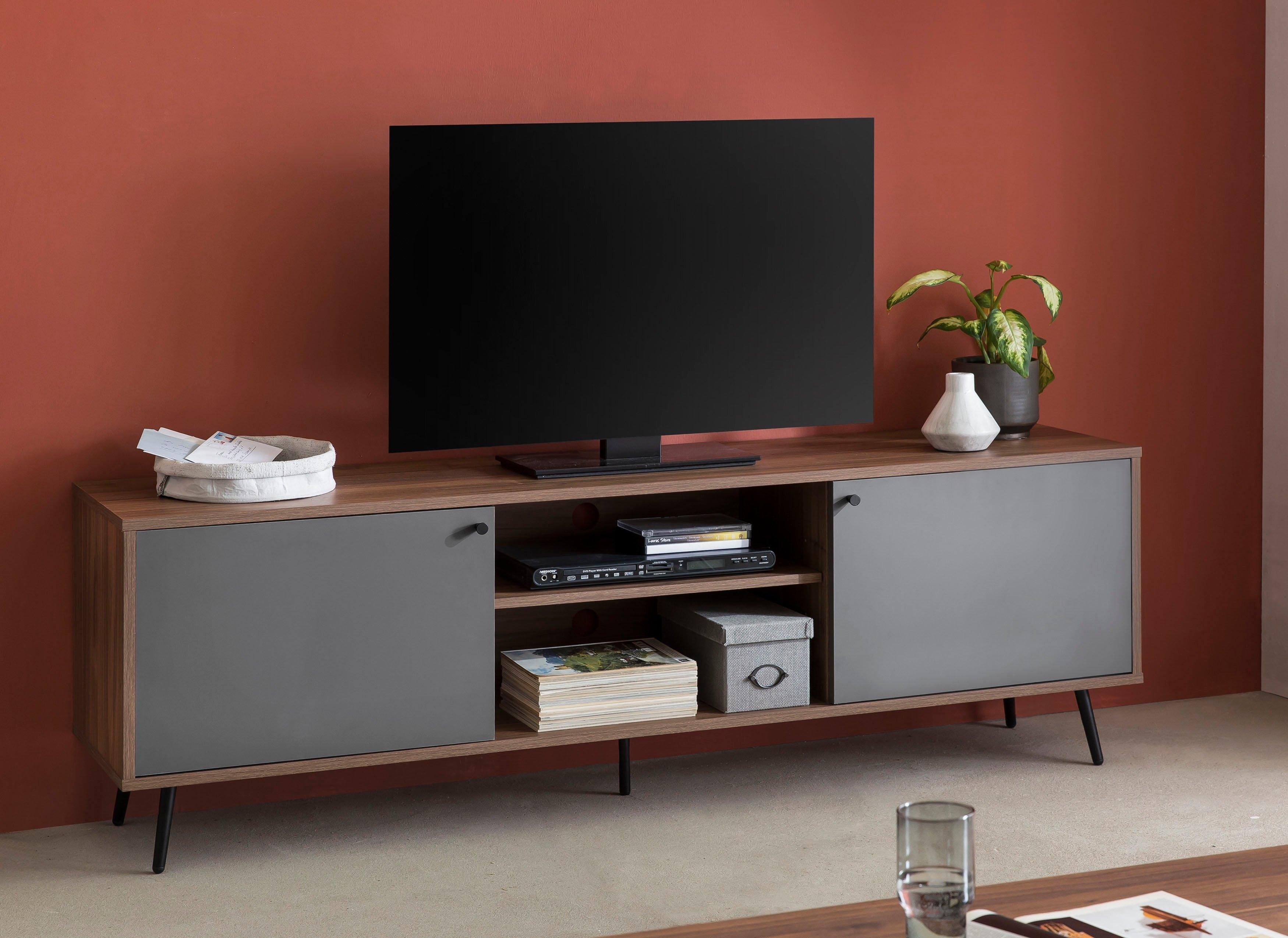 SalesFever tv-meubel in moderne kleurencombinatie van walnoot en grijs, tv-tafel voordelig en veilig online kopen