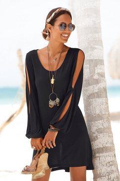 lascana lang shirt met splitje in de mouwen zwart