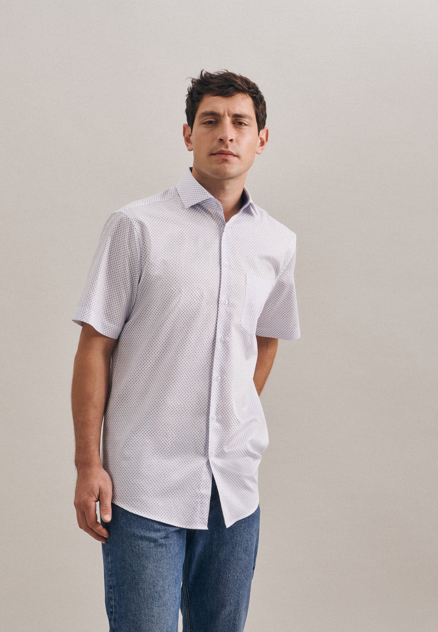 seidensticker businessoverhemd Regular Regular korte mouwen kentkraag print nu online kopen bij OTTO