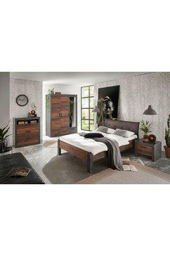 home affaire slaapkamerserie »brooklyn« (set, eenpersoonsbed met gestoffeerd hoofdeinde, nachtkastje, kleerkast 3 deuren, ladekast) grijs