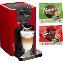 senseo-koffiepadautomaat hd7865-00 quadrante, met coffee boost, xl waterreservoir, wit rood